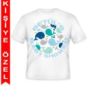 - Sevimli Mavi Balinalar Kişiye Özel Baskılı T-Shirt