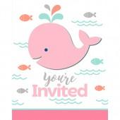 - Sevimli Pembe Balinalar Davetiye Kartı