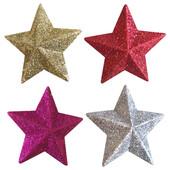 - Simli Yıldızlar Çam Ağacı Süsleri