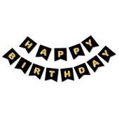 - Siyah Üzeri Altın Baskılı Happy Birthday Harf Afiş