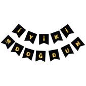 - Siyah Üzeri Altın Baskılı İyi Ki Doğdun Harf Afiş