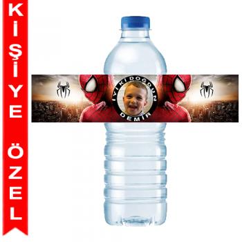 Spiderman Kişiye Özel Su Şişesi Bandı