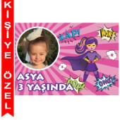 - Süper Kahraman Kız Kişiye Özel Fotoğraflı Magnet