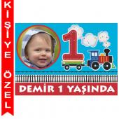 - Trenlerim Partisi 1 Yaş Kişiye Özel Fotoğraflı Magnet