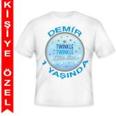 - Twinkle Little Star Erkek Kişiye Özel Baskılı T-Shirt