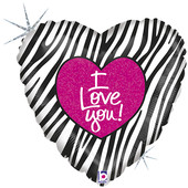 - Zebra Desenli Kalp Folyo Balon (45cm)